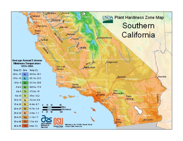 USDA Hardiness Zone Southern California